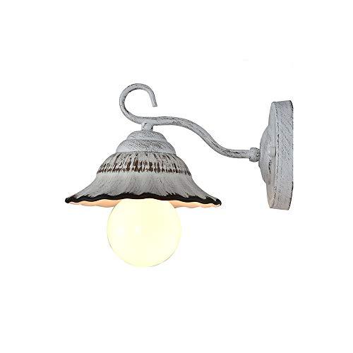 E27 Lámpara de Pared Creativo Vintage Apliques de Pared Retro Base de Hierro cerámica Art Deco Industrial Luz de Pared Desván Rústica Lámpara Iluminación para Dormitorio Metal Decoración (A)