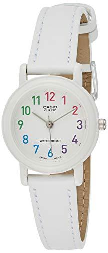 Casio Reloj clásico de pulsera de cuero azul con esfera blanca [LQ-139L-7B] resistente al agua