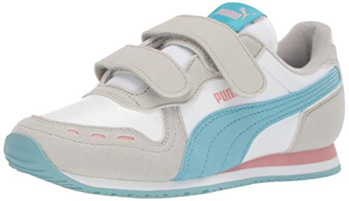 PUMA Unisex-Kid's Cabana Racer Velcro Sneaker, White-Milky Blue-Gray Violet-Bridal Rose, 11.5 M US Little Kid