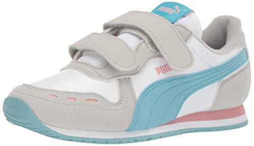 PUMA Unisex-Kid's Cabana Racer Velcro Sneaker, White-Milky Blue-Gray Violet-Bridal Rose, 11.5 M US Little Kid