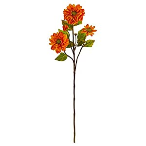 Nearly Natural 2249-S6-OR 30-in. Zinnia Artificial (Set of 6) Silk Flowers Orange