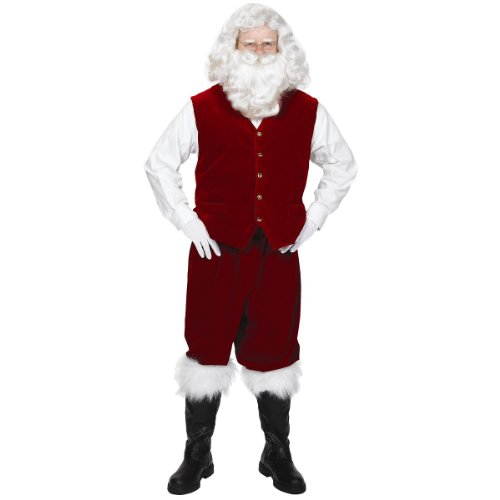 Santa Velvet Vest with Buttons Adult - Large