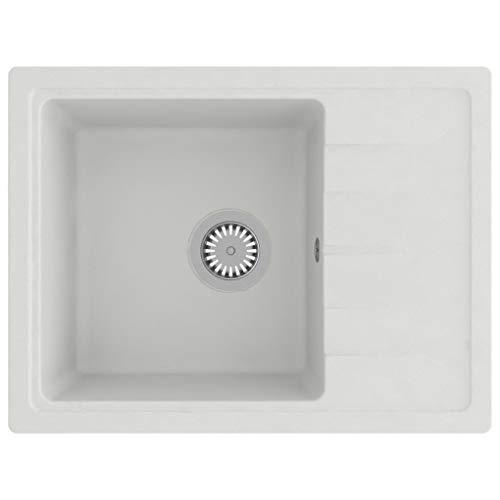 vidaXL Küchenspüle mit Überlauf Siebkörbchen Spüle Einbauspüle Spülbecken Granitspüle Aufsatzmontage Oval Weiß Granit 580x440x164mm