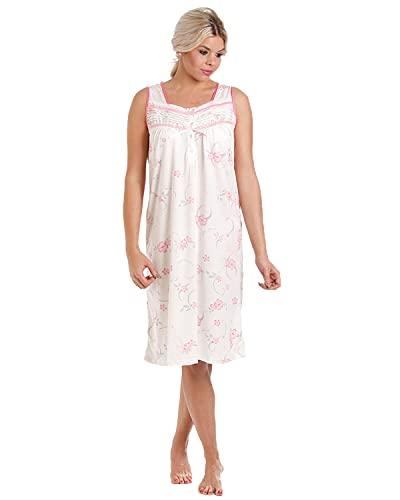 Lady Olga - Camisón de algodón para mujer, diseño floral sin mangas, ropa de noche 0103 rosa rosa 50/52