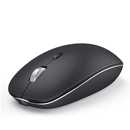 Jelly Comb Bluetooth Maus wiederaufladbar, Dual-Mode 2.4GHz Funkmaus und Bluetooth Maus für PC, MacBook, Laptop, Windows(Schwarz und Silber)