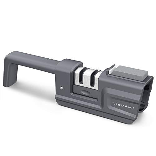 Knife Sharpener, Suitable for Scissors and Kitchen Knives, Safe Handheld Knife Sharpener, Foldable and Detachable Knife Sharpener with Anti Skid Rubber Base(Gray)