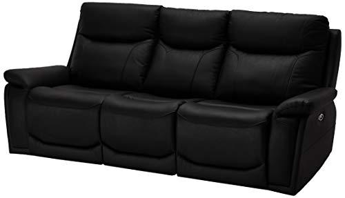 Ibbe Design Schwarz Leder 3er Sitzer Relaxsofa Couch mit Elektrisch Verstellbar Relaxfunktion Heimkino Sofa Bremen mit Fussteil, 217x99x100 cm