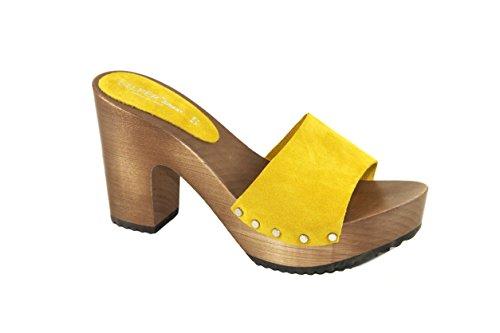 Silfer Shoes Zueco de mujer – Made in Italy – Sandalias de mujer – Artesanal – Zueco de auténtica madera y piel de ante, color amarillo Amarillo Size: 38 EU