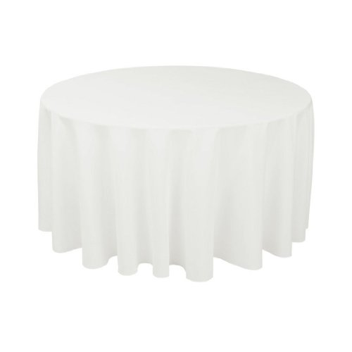 Craft and Party - 10 pcs Round Tablecloth for Home, Party, Wedding or Restaurant Use. (White, 120 Round)