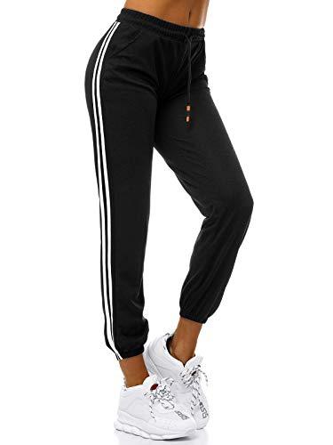 OZONEE Damen Jogginghose Hose Trainingshose Sporthose Freizeithose Motiv Damenhose Fitnesshose Sweatpants Sweathose Fußballhose Joggpants JS/1020/A1 SCHWARZ L