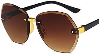 weichuang - weichuang Gafas de sol para niños con montura ovalada sin montura para niños, gris, rosa, azul, lentes modernas, protección UV400, gafas de sol para niños (lentes de color: C2)