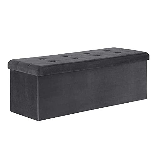 WOLTU Sitzhocker mit Stauraum Sitzbank faltbar Truhen Aufbewahrungsbox, Deckel abnehmbar, Gepolsterte Sitzfläche aus Samt, 110x37,5x38 cm, Grau, SH73gr