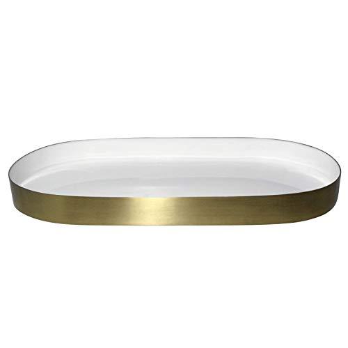 LaLe Living Glam - Bandeja decorativa (hierro, 30 x 15 cm), color dorado, hierro, blanco / dorado, 30 x 15 cm