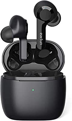 Wireless Earbuds, EarFun Air 4 Mics Noise Cancelling, Wireless Charging, Bluetooth 5.0 Earbuds, Touch Control, USB-C Quick Charge, Deep Bass, in-Ear Detection Headphones, 35H Playtime, IPX7 Waterproof by Earfun