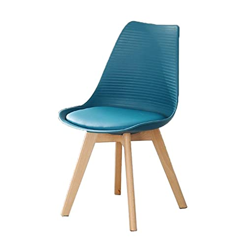 YQG Tulip Leather Dining Chair, Nordic Modern Minimalist Negotiation Chair, High Rebound Cushion Chair (4 Pcs) (Color : Dark Blue)