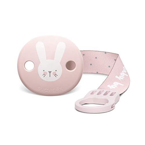 Suavinex - Broche pinza con cinta de chupetes para bebés +0 meses. Broche Pinza Redondo. Con nueva placa más pequeña. 0% BPA. Color rosa.