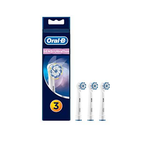 Oral-B Sensi UltraThin Testine di Ricambio per Spazzolino Elettrico Ricaricabile in Confezione da 3, per Una Pulizia Accurata e Migliore Protezione delle Gengive, Versione Vecchia