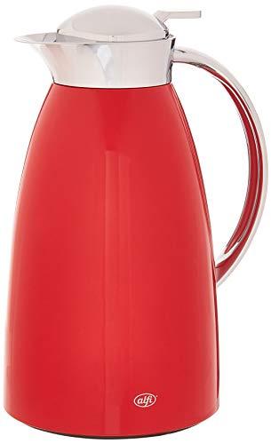 alfi Gusto Glaskaraffe Vakuum lackierte Metall Thermokaraffe für Heiß- und Kaltgetränke, 1,0 l, Rot