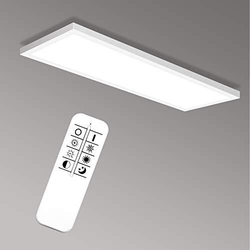 YU YUSING Panel LED de techo de 120 x 30 cm, blanco neutro, 2700 K-6500 K, lámpara de techo de 40 W, iluminación de techo para salón, cocina, oficina, baño [Clase energética A+]