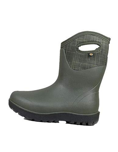 Bogs Womens Neo-Classic Mid Waterproof Rain Boot, Linen Dark Green Multi, 7 M