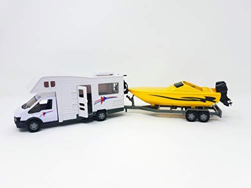 PLAYJOCS GT-6250 Motorhome / Wohnmobil und Anhänger mit dem Boot, 35cm - DieCast Metall Miniaturmodell Modellauto