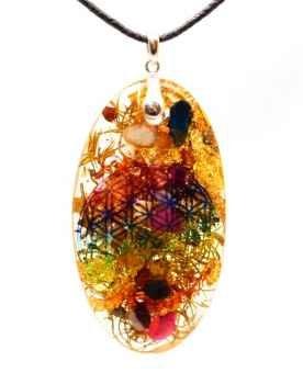 Orgonit Elipse Amulett Premium Regenbogen Blume des Lebens mit Sugilith, Schungit und 925er Silberöse