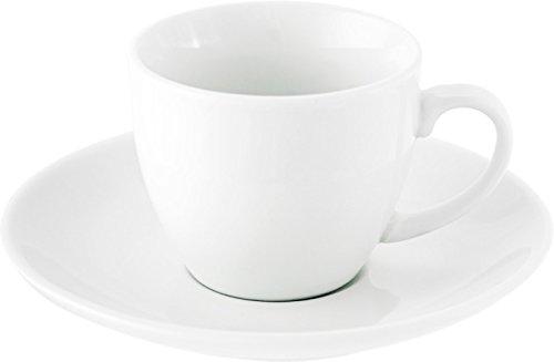 Esspresso Tassen 80 oder 100 ml Kaffeetassen 230 ml Neutral Weiß + Untertassen (Espresso-Tasse Pisa aus Porzellan 12 x 5,6cm)