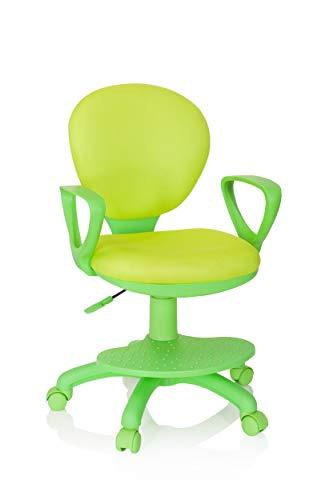 hjh OFFICE 670979 Kinderdrehstuhl Kid Colour Stoff Grün Schreibtischstuhl Kinder, Fußablage & Sitzfläche höhenverstellbar