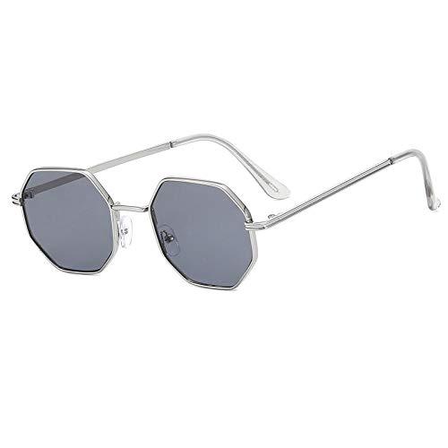 Sonnenbrille Herren Polygon Sonnenbrille Männer Vintage Octagon Metall Sonnenbrille Für Frauen Luxusmarke Brille Sonnenbrille Damen Silbergrau