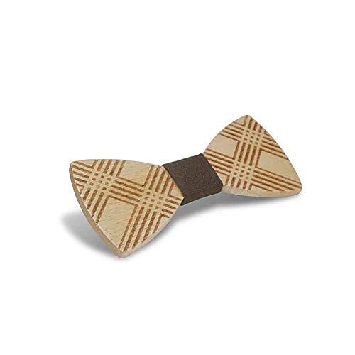 ZSRHH-Neckchiefs Halstücher Herren Holz Fliege Kreuz geschnitzt Manschette Blume Taschentuch Business Butterfly Anzug Krawatte (Farbe : Braun, Größe : 5 * 9.5cm)