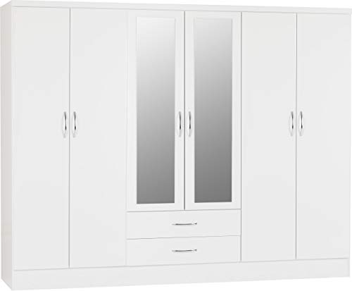 PALAKLOT High Gloss 6 Door 2 Drawer Mirrored Wardrobe | Modular Cabinet for Space Saving | Ideal Storage Organizer (White Gloss)