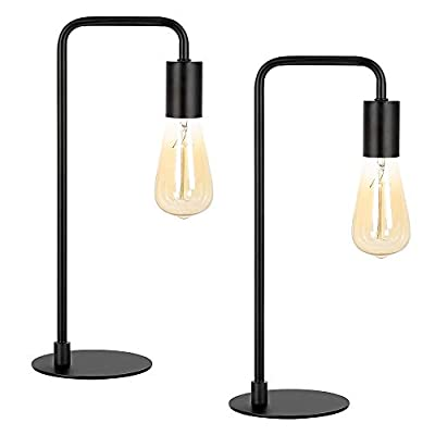 Industrial Table Lamp Set of 2, Small Black Metal Desk Lamp for Bedroom Nightstand Dressers Office Living Room Coffee Table College Dorm