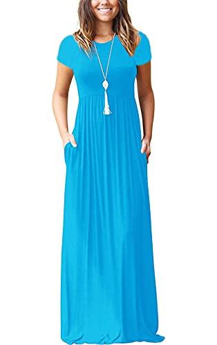 VIISHOW Women's Short Sleeve Loose Plain Maxi Dresses Casual Long Dresses with Pockets (X-Large, Nile Blue)