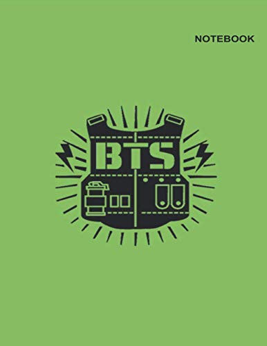 BTS quotes notebook: College Ruled paper, 110 Pages, (8.5 x 11 inches) Letter Size, BTS Bulletproof Vest Green Design Cover.