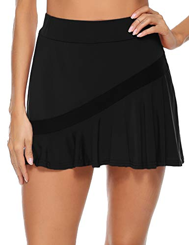 Akalnny Gonna Sportiva da Donna con Pantaloncini da Tennis Sportiva Mini Skirt Ginnastica Gonna per Golf, Yoga, Tennis, Palestra (Nero, S)