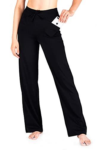 "Yogipace Women's Petite/Regular/Tall Straight Leg Loose Fit Wide Leg Yoga Pants Drawstring Stretch Sweatpants Workout Long Lounge Pants, 31"",Black, Size S"