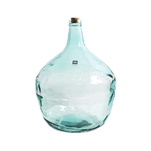 Garrafa de vidrio 16 litros con tapón de corcho, modelo apple, 42 x 31,5 cm, damajuana, botella de cristal para almacenar bebidas, agua, vino