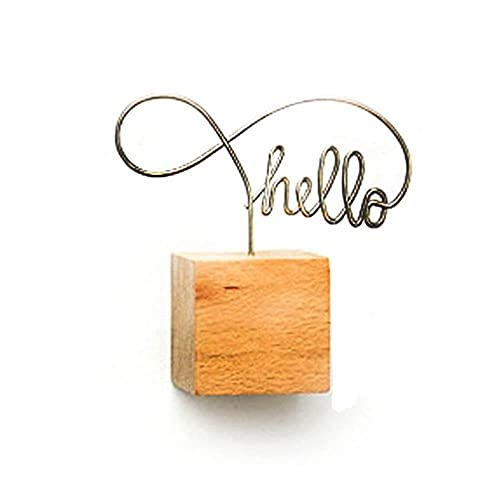 Tarjeta de nombre Simplicidad creativa Decoración de la boda Adornos de escritorio Clip de fotos Soporte para notas Marco de fotos Accesorios de bricolaje de madera cuadrada-China, hola