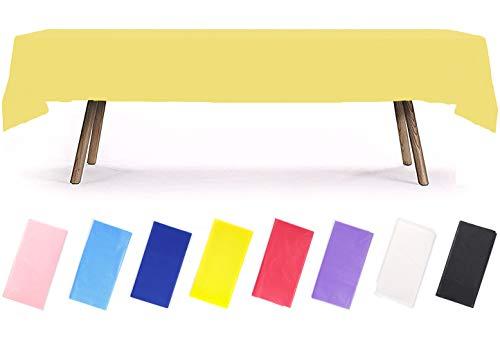PartyWoo Tischdecke Gelb, 137 x 274 cm/ 54 x 108 Zoll Rechteckige Tischdecke Abwaschbar für 6 bis 8 Fuß Tisch, Tischtuch, Table Cloth, Wasserdichte Tischdecke für Party, Geburtstag, Hochzeit (1 STÜCK)