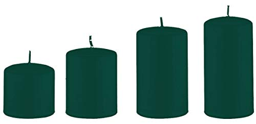 Advent Kaarsen Donkergroen elk 1 kaars in maat 6 x 6 cm, 8 x 6 cm, 10 x 6 cm und 12 x 6 cm mm, 4 Stuks