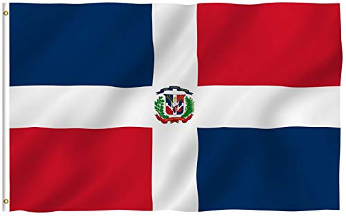 Anley Fly Breeze 90 x 150 cm Bandera República Dominicana - Colores Vivos y Resistentes a Rayos UVA - Bordes Reforzados con Lona y Doble Costura