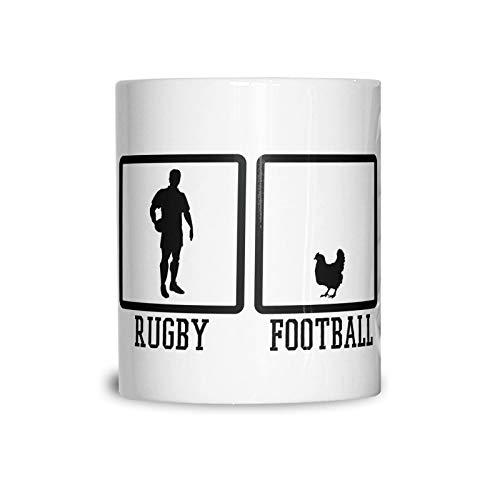 Lplpol Broma Sports Mug Rugby Vs Football Chicken Novedad Match Game League 11 oz