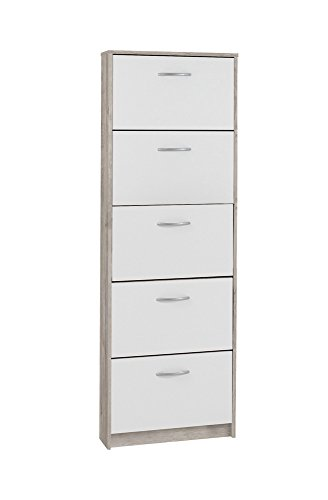 FMD furniture Schuhkipper, Spanplatte, Sandeiche/Weiß, ca. 58,5 x 168,3 x 17