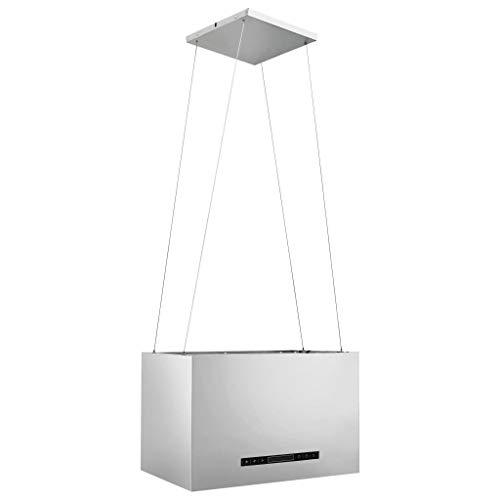 vidaXL Inselhaube Hängend Freihängend Touch-Sensor LCD-Display Kohlefilter Timer Inseldunstabzugshaube Dunstabzugshaube 55cm Edelstahl