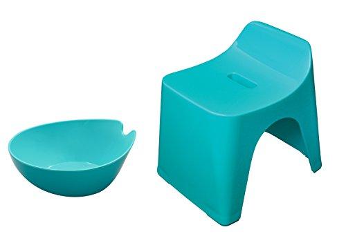 シンカテック ヒューバス お風呂2点セット 風呂椅子30cm&湯おけ ブルー HU-BL