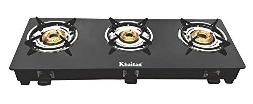 Khaitan 3 Burner BP-JIO Black Toughened Glass Top, manual Ignition LP Gas Stove with 1 Year Warranty (ISI Approved)