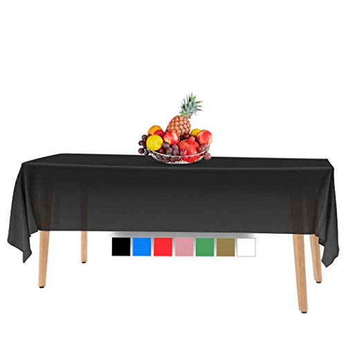 14 Pack Premium Disposable Black Plastic Tablecloth - 54 x 108 in. Rectangle Plastic Tablecloths - Colors. Red, Blue, Black, White, Green, Gold, Pink, Yellow - Use for Indoor Or Outdoor. for Parties.