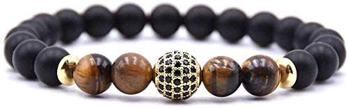 Pulsera Pulsera de piedra para mujer, 7 chakras, pulsera de cuentas de piedra de ojo de tigre marrón natural, brazalete elástico de la suerte, joyería de bola de circonita con pavé dorado para unisex