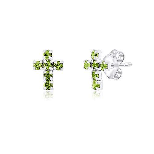 DTP Silver - Pendientes/Aretes en forma de Cruz - Plata de Ley 925 con Cristales Swarovski - Color: Verde Peridoto