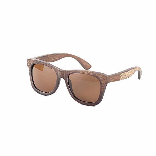 Zhhhk Nuevas Gafas De Montura De La Personalidad De La Moda De Bambú Que Conducen Las Gafas De Sol Polarizadas Protección UV400 (Color : Brown)